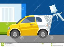 car painting spray gun yellow car white car color illustration