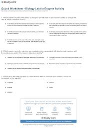 quiz u0026 worksheet biology lab for enzyme activity study com