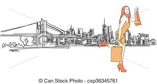 clip art vector of shopping queen in front of new york panorama
