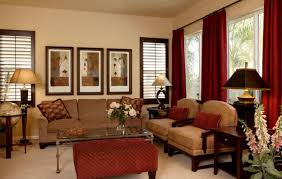 Red Curtains In Bedroom - traditional home decorations cream walls bold red curtains large