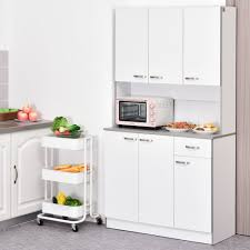 kitchen cupboard with drawers homcom 71 freestanding kitchen buffet hutch cupboard with 6 doors 3 adjustable shelves and 1 drawer white
