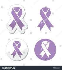 lavender ribbon lavender ribbon general cancer awareness epilepsy stock vector