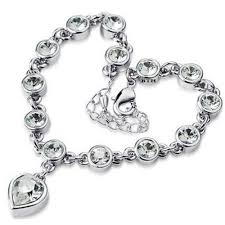 sterling silver crystal heart bracelet images 925 silver ladies heart bracelet made with swarovski crystals stones jpg
