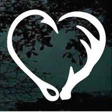 hunting window decals fish hook deer antler heart decaljunky