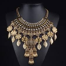 gold vintage statement necklace images Brand design big chunky collar necklace vintage gold silver leaf jpg