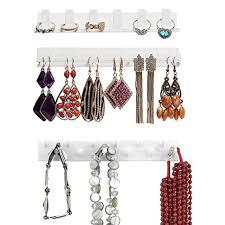 bracelet necklace organizer images Simple white wall mount ring bracelet necklace hanger jewelry jpg