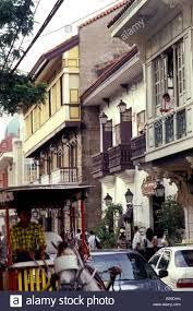 spanish style houses intramuros manila philippines stock photo