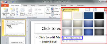change background styles in the slide master in powerpoint 2010