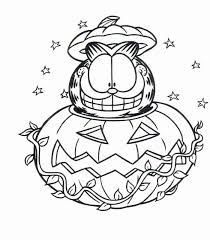 cartoon design garfield celebrates halloween coloring pages print