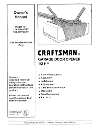 1 2 Horsepower Garage Door Opener by Craftsman Garage Door Opener 139 53975srt User Guide