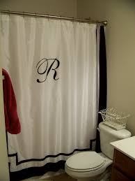 magnificent white faux silk extra long shower curtain with initial