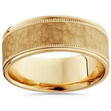 mens wedding bands gold 8mm hammered mens wedding band 14k yellow gold