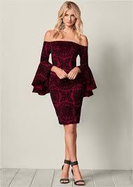 cocktail dress sleeve detail dress in wine black venus