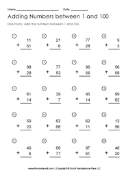addition to 100 worksheet free printable first grade math worksheets
