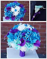 purple and turquoise wedding wedding bouquet 9inch turquoise malibu purple and
