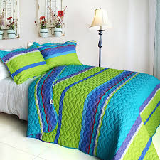 Turquoise And Purple Bedding Lime Geen Blue Purple Stripe Quilt Set Teen Bedding Twin Or