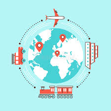 traveling around the world by different transportation stock vector