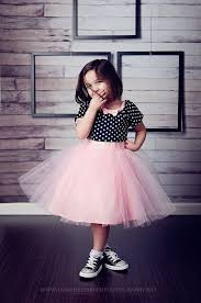 tutu dress in black polka dot pink tulle skirt for baby