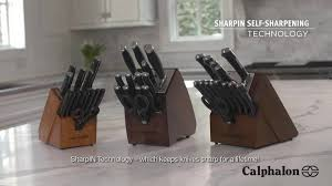 Self Sharpening Kitchen Knives by Calphalon Classic Self Sharpening 15 Piece Cutlery Set Walmart Com
