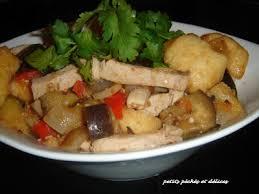 plats cuisin駸 sans sel petits péchés et délices aubergines porc boules de tofu frites
