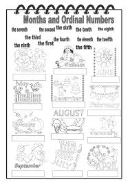 months and ordinal numbers interactive worksheet english