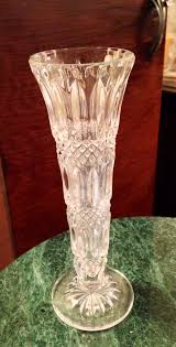 Vintage Lenox Crystal Star Bud Vase Antique Vintage Cut Lead Crystal Glass Diamond Ribbed Footed