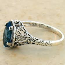 silver topaz rings images Genuine london blue topaz antique style 925 sterling silver ring jpg