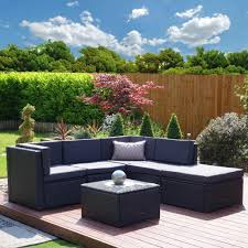 rattan corner sofa with cushions for outdoor living room