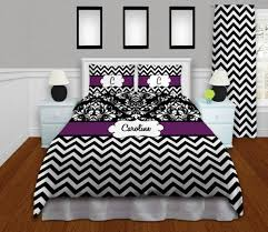 Black And Purple Bed Sets Chevron Comforter Black U0026 White Chevron Bedding Purple
