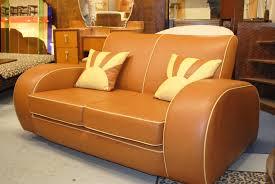 Plush Leather Sofas by Resplendent Retro Classic Tan Faux Leather Sofas Two Seater As Art