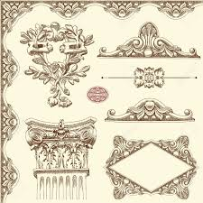 draw vintage sketch ornamental design element of lviv