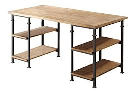 wood and metal writing desk amazon com renate contemporary wood metal home office table intended