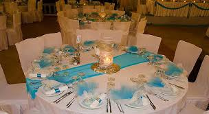 Wedding Reception Table Settings Aqua Table Settings Blue Ortansia Table Ste White Roses Jpg Aqua