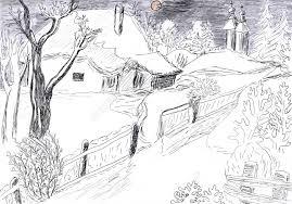 drawing pencil winter scen pencil sketch of winter season