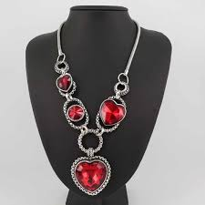 red antique necklace images Antique silver plated red heart necklace kittijewelry jpg