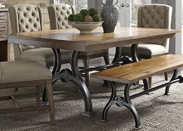 Dining Room Table Base Trestle Table With Metal Base By Liberty Furniture Wolf And