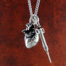 gothic heart necklace images Antique gothic heart syringe necklace goth mall jpg