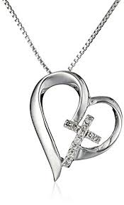 cross heart necklace images Sterling silver open heart with diamond cross quot faith hope love jpg