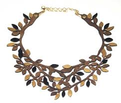 leather gold necklace images Brown gold leaf leather necklace vit ria global fashion llc jpg