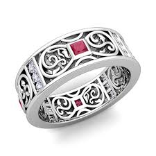mens rings ruby images Princess cut celtic ruby wedding band ring for men in 18k gold jpg