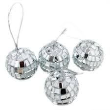 silver mini disco mirror ball xmas tree bauble home party
