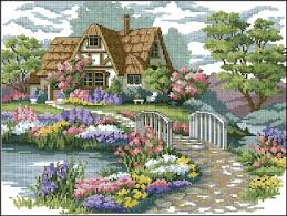 charming cottage cross stitch pattern counted cross stitch
