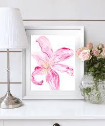 large wall art botanical print of flower pink acrylic flower
