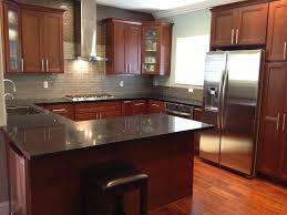 kitchen cabinets american cherry glass subway tile backsplash