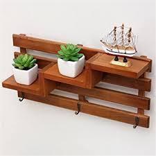 chris w wall mount wooden shelf with 3 key hooks 3