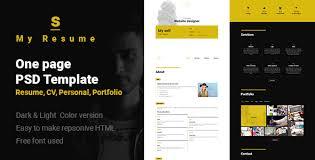 s resume cv portfolio one page psd template by sushan jariwala