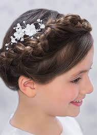 Fancy Hairstyles For Little Girls by Chich French Knotted And Braided Bun Communion Hairstyle With Side