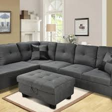 microfiber sectional with ottoman f108 gray microfiber sectional with storage ottoman all nations