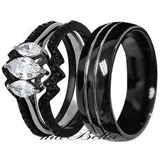 black stainless steel wedding rings his tungsten hers black stainless steel 4 pcs wedding engagement