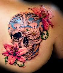 collection of 25 sugar skull with flower tattoos on shoulder